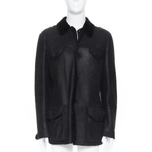 EMPORIO-ARMANI-black-leather-shearling-lined-4-pocket-aviator-winter-coat-EU50-L
