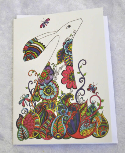 Easter Henna Hare Greetings birthday card drawn and printed in the UK Ostara
