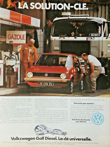 PUBLICITE-DE-PRESSE-1980-VOLKSWAGEN-GOLF-DIESEL-LA-SOLUTION-CLE