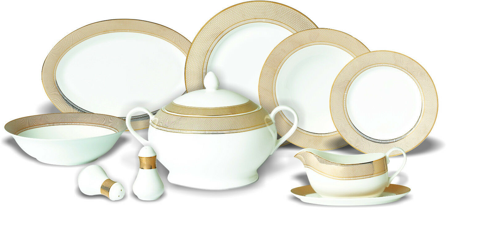 42 pièce de porcelaine Set Cuisine tablerware vaisselle assiette service or