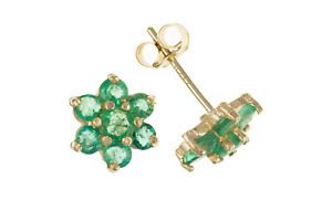 Emerald-Cluster-Earrings-Solid-9-Carat-Yellow-Gold-Stud-Natural-Stone-Studs
