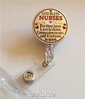 Nursing Gift Id Holder Retractable God Bless Nurses Silver Graduation Usa Seller