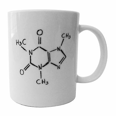 Smart Brands, Caffeine Molecule Ceramic Coffee Mug - Funny Handwriting Style