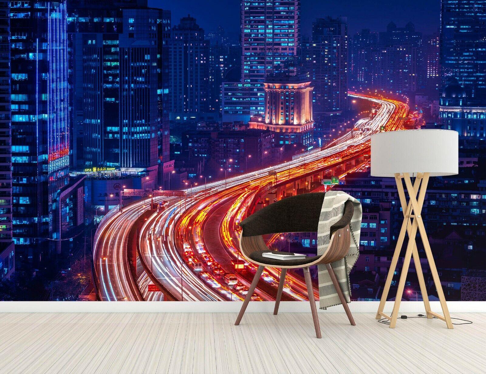 3D Nachtstraße Stadt H732 Tapete Wandbild Selbstklebend Marco Carmassi Amy