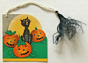VINTAGE-1930-039-s-Halloween-Tally-card-invitation-decoration-PUMPKINS-amp-BLACK-CATS