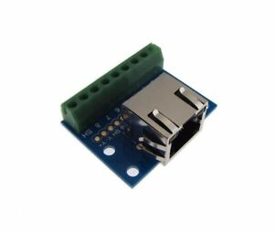 RJ45-Ethernet-Connector-Breakout-Board-w-LED-Screw-terminals-Spring
