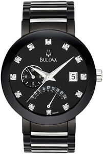 Bulova-Men-039-s-Quartz-Diamond-Markers-Calendar-Black-Bracelet-40mm-Watch-98D109