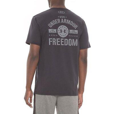 BLACK// SHARP NWT~ MEN/'S UNDER ARMOUR FREEDOM GRAPHIC T-SHIRT HEATGEAR