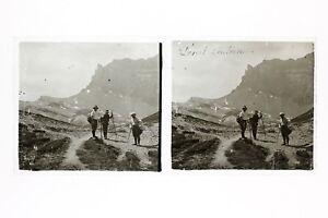Alpinisti-Deserto-Anternes-Montagne-Foto-Placca-Lente-Stereo-Vintage
