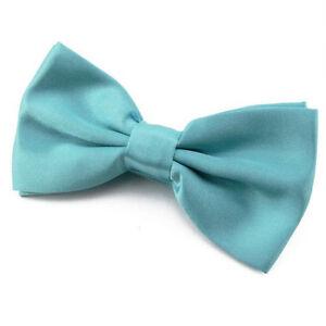 NOEUD-PAPILLON-Satin-Bleu-Turquoise-Homme-ou-Femme-Blue-Bowtie-men-Adjustable