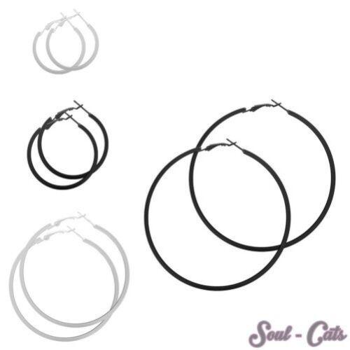 1 Pair Hoop Earrings Rectangular Earrings Ear Stud Matt Silver Black More Sizes