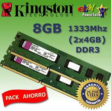 Memoria RAM DDR3 8GB (2x4GB) 1333Mhz - Kingston - NO COMPATIBLE CON INTEL