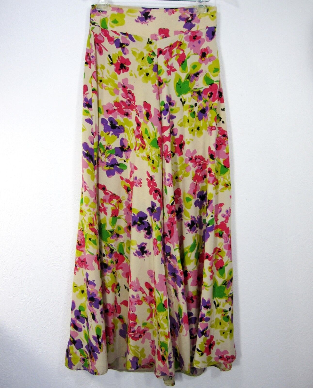 BOOHOO HIGH WAIST EXTRA WIDE PANTS SIZE 4 FLORAL RED YELLOW GREEN blueE