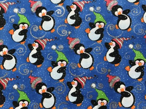 Christmas Penguins FQ Fat Quarter Fabric Glitter Xmas Party 100/% Cotton Quilting