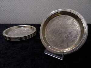 6-Piezas-Set-Metal-Bandeja-de-Servir-Y-Platos-Union-Sovietica-Rusia-Vintage
