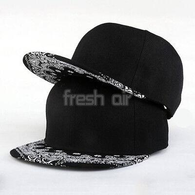 Paisley Black Unisex Snapback Hats Hip-Hop Dance Adjustable Bboy Baseball Cap