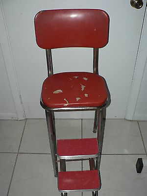 Marvelous Antique Vintage Step Stool Chair Country Steel Metal Mid Century Chrome Ebay Ocoug Best Dining Table And Chair Ideas Images Ocougorg