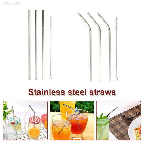 41A0 4pcs//Set Drinking Straw Metal Straw Wedding Sucker Creative