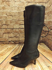 Ladies Dolcis Black Leather Mid Heel Laced Back Zip Fastening Long Boots EU 36