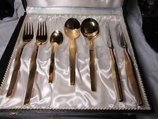 FULL 24ct Gold Plated CUTLERY SERVICE For SIX Grah & Deppmeyer Solingen Germany