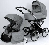 Beautiful Retro Design Classic Grey Ml Baby Pram / Pushchair - 2in1.