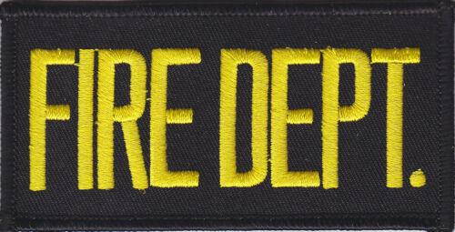"MEDIUM GOLD on BLACK Front Panel Patch 4/"" X 2/"" FIRE DEPT"
