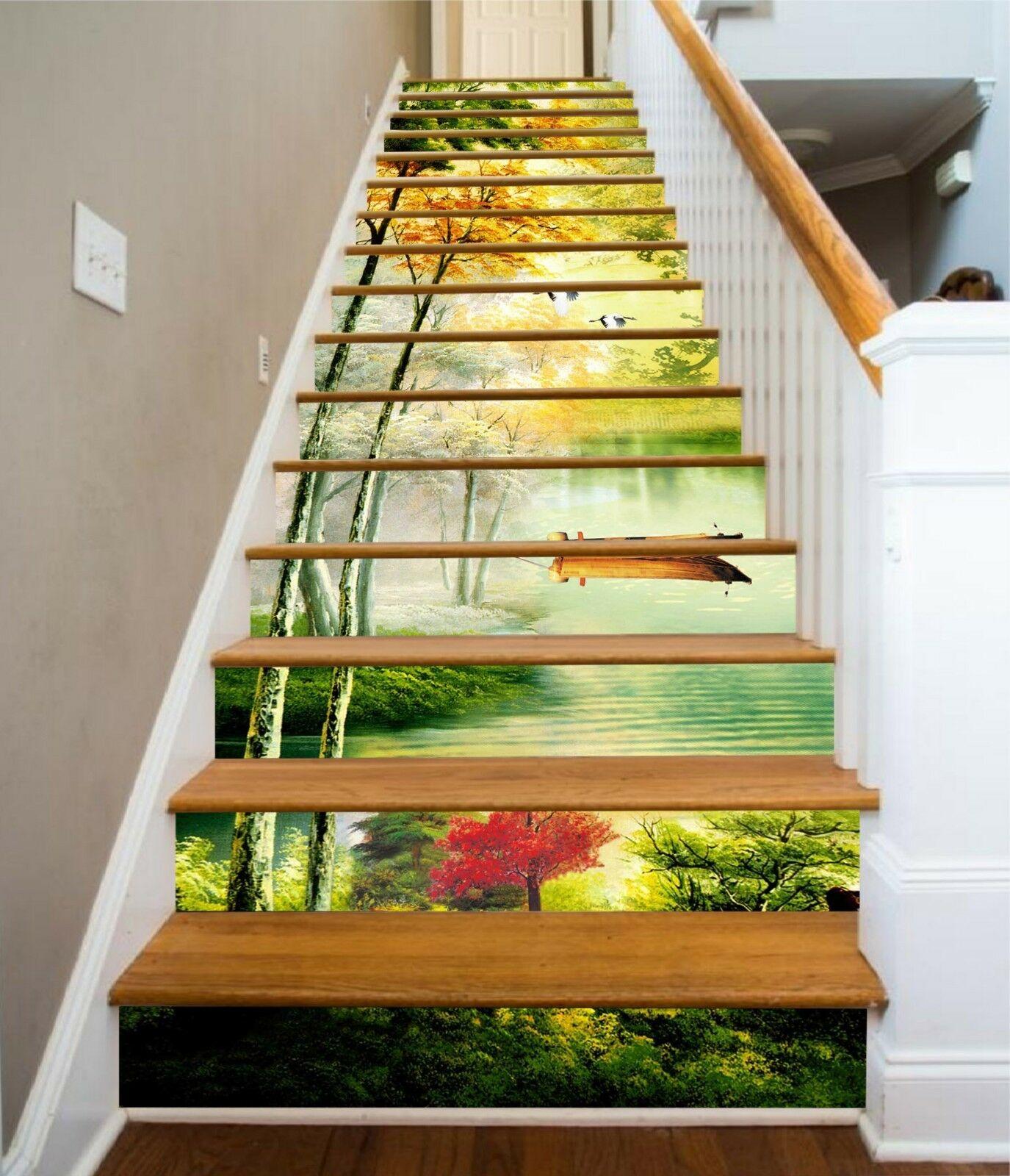3D Ferry Lake Trees Stair Risers Decoration Photo Mural Vinyl Decal Wallpaper UK