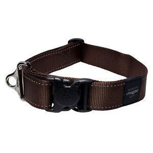 Rogz Dog Collar Utility S/R - Landing Strip XX-Large 20in-32in neck - Brown