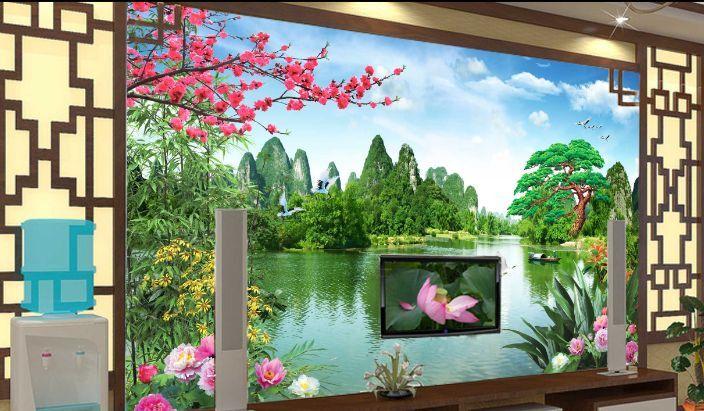 3D Der Berg Pflaume Fluss Fototapeten Wandbild Fototapete BildTapete Familie DE