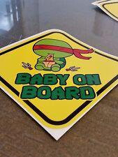 Teenage Mutant Ninja Turtles RAPHAEL CHIBI Cute BABY ON BOARD STICKER WARNING