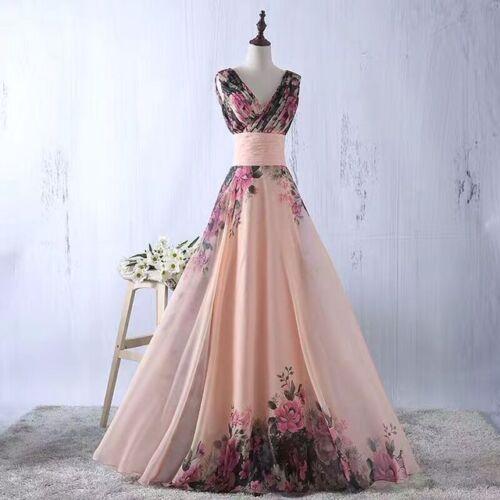 Bc09 Li Blumenprint Floral Maxikleid Abendkleid Ballkleid Chiffon Sofort Kleid 6axOvwx8q