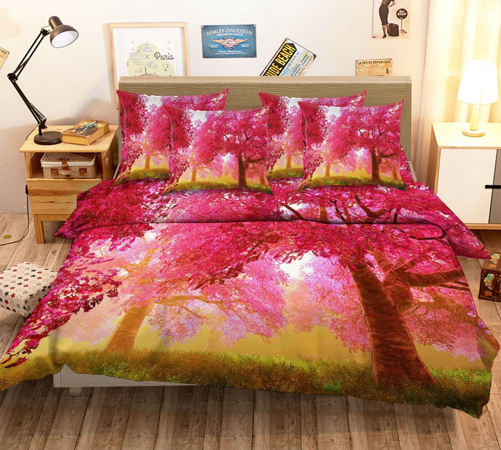 3D rot Woods Nature 8 Bed Pillowcases Quilt Duvet Cover Set Single Queen King CA