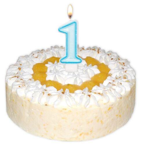 Hellblaue Zahlenkerze zum 1 Kuchenkerze Geburtstag Junge Baby-Boy Tortendeko