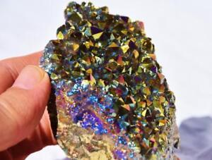 2143-Arcobaleno-Fiamma-Aura-Ametista-Titanio-220gm-Cristallo-Heal-Cluster-100mm