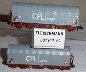 Fleischmann 837917 Spur N 2-teiliges Set Schiebeplanenwagen CFL CARGO Epoche 5/6