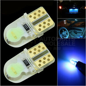 2pcs Ice Blue 8000K silicone shell T10 Wedge COB LED Light Bulbs W5W 192 168 194