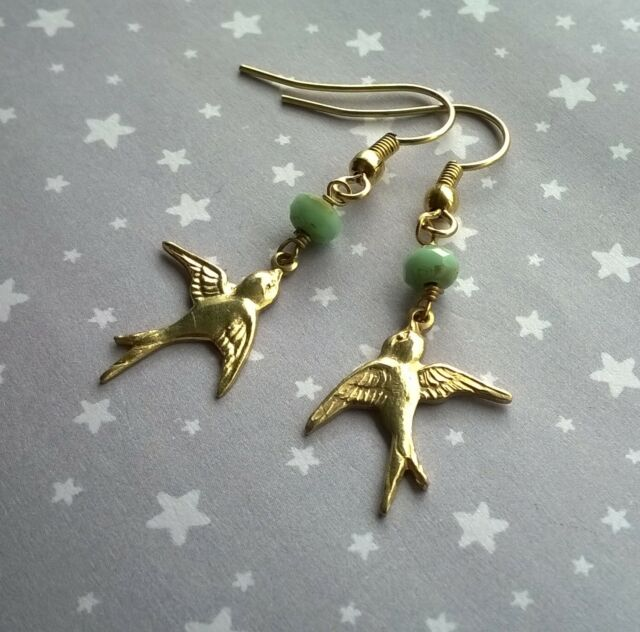 Vintage Style Swallow Bird Earrings Mint Green Czech Glass Beads Gold Brass Drop