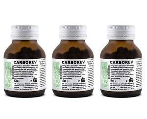CARBOREV-3x125-Compresse-Carbone-Vegetale-Composto-Meteorismo-Aerofagia-Gonfiore