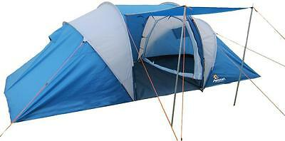 Aventura 4 Man Person 2 Doors Camping Festival Outdoor Family Tunnel Tent Blue