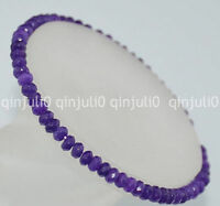 2x4mm Faceted Amethyst Roundlle Gemstones Bracelet 7.5 inch J146