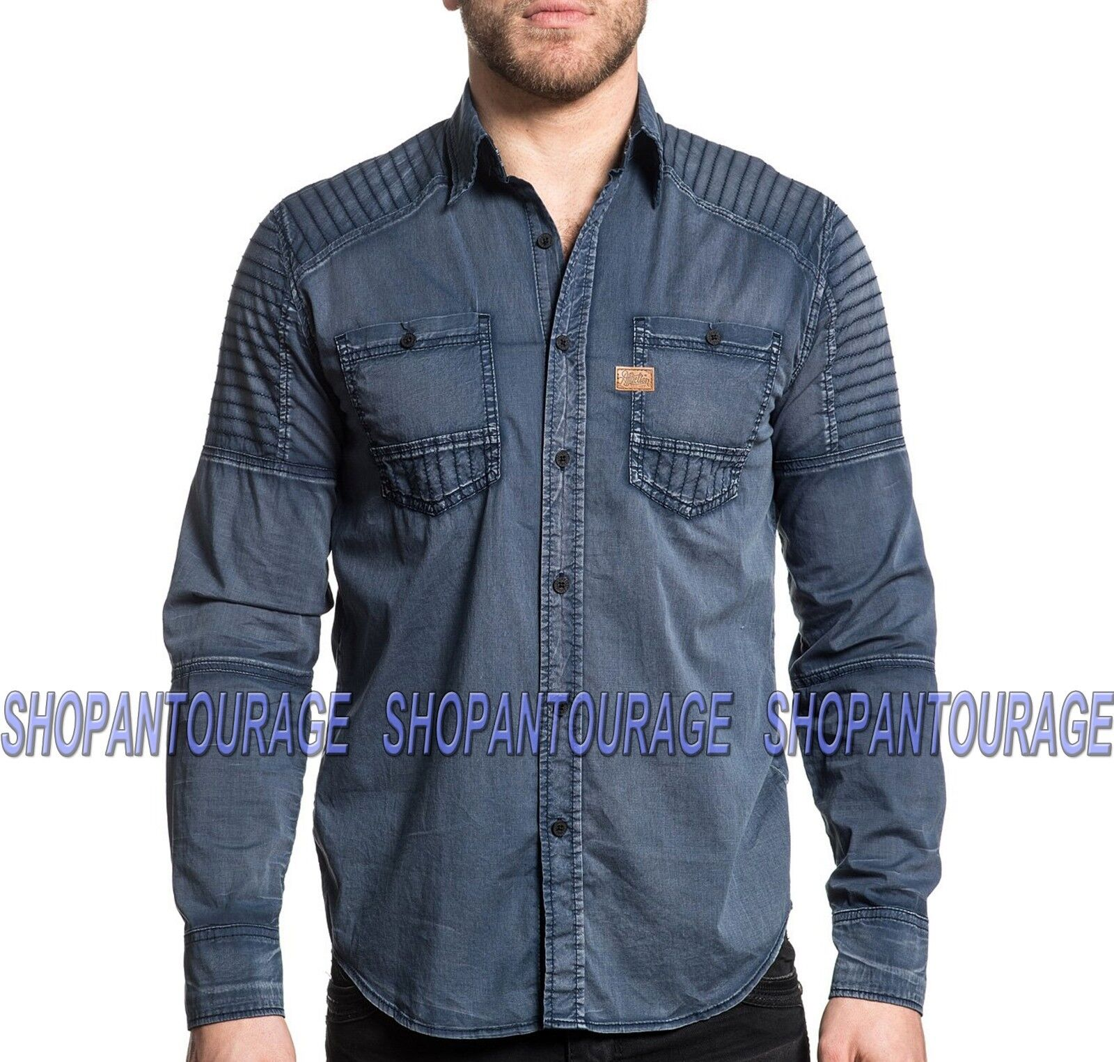 AFFLICTION Hell Bound 110WV710 Men`s New Navy Long Sleeve Button-Down Shirt