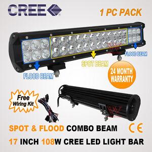 17INCH-108W-CREE-LED-SPOT-FLOOD-DRIVING-OFFROAD-4WD-WORK-LIGHT-BAR-36W-126W-180W