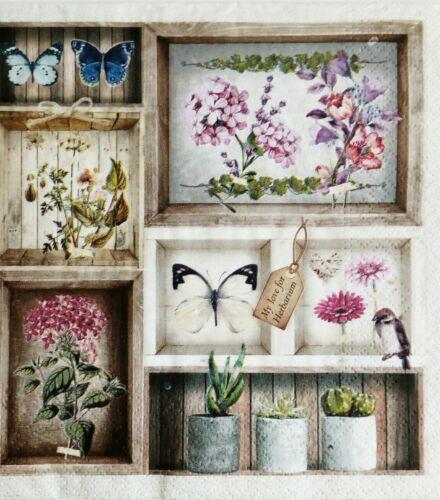 4 x decoupage paper napkins Herbararium.Servilletas Decoupage Vintage,flores.