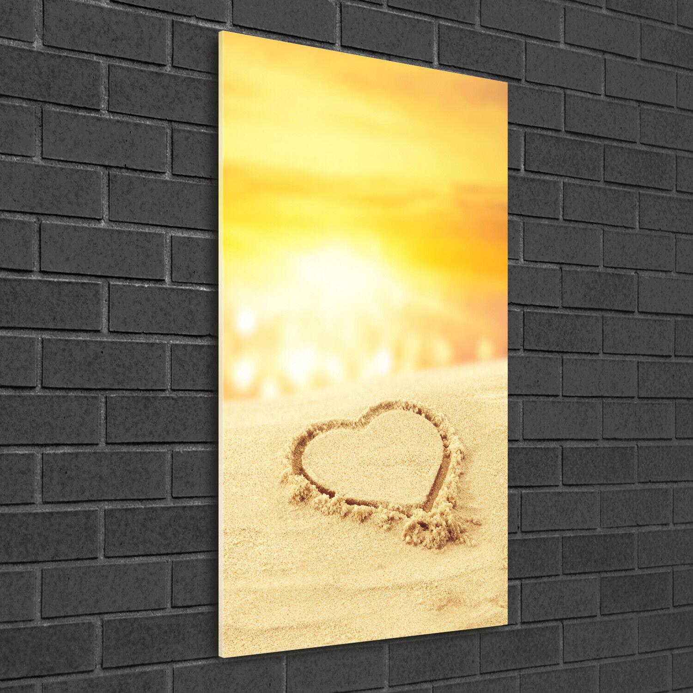 Wand-Bild Kunstdruck aus Hart-Glas Hochformat 50x100 Herz am Strand