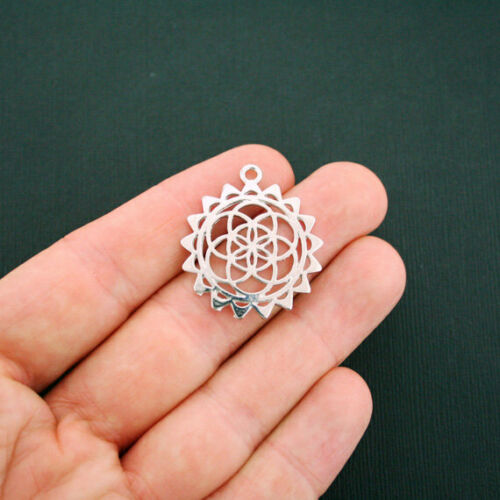 BULK 20 Flower of Life Charms Antique Silver Tone Sacred Geometry SC5937