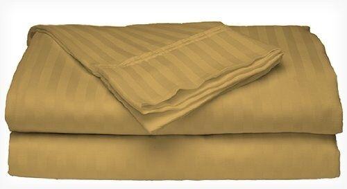 King Size Gold 400 Thread Count 100% Cotton Sateen Dobby Stripe Sheet Set