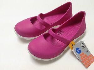 Crocs-Women-039-s-Duet-Sport-Mary-Jane-Flat-Fuchsia-White-Size-6-7-8-9-10-11