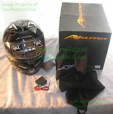 BRAND NEW AKUMA STEALTH Motorcycle Helmet 3X-Large with LED Lights! USAF XXXL gb