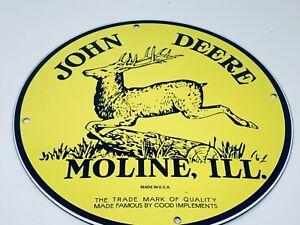 VINTAGE-JOHN-DEERE-FARMING-EQUIPMENT-ADVERTISING-PORCELAIN-12-034-GAS-amp-OIL-SIGN
