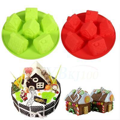 Cute Small House Shape Fondant Mold Silicone Sugarcraft Cake Decorative Mould JS